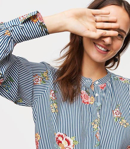 Floral Striped Shirred Blouse
