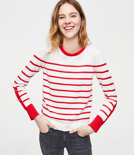 Striped Button Sleeve Sweater