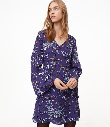 Petite Frosted Branch Bell Sleeve Dress