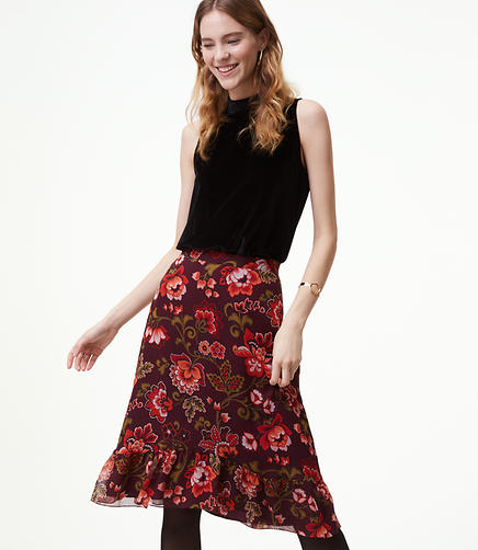 Petite Floral Ruffle Skirt