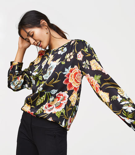 Poppy Bloom Shirred Keyhole Blouse