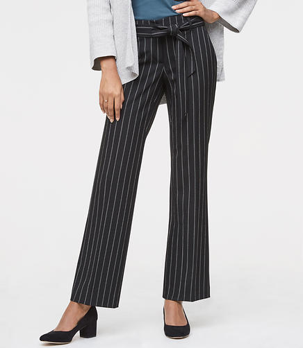 Tall Trousers in Pinstripe Tie Waist in Julie Fit