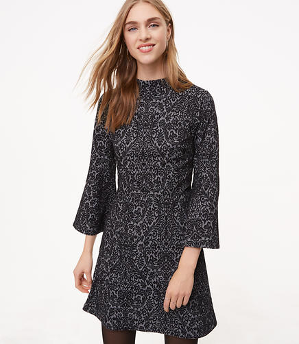 Scroll Jacquard Bell Sleeve Dress