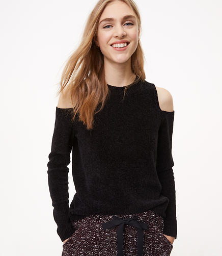 Chenille Cold Shoulder Sweater