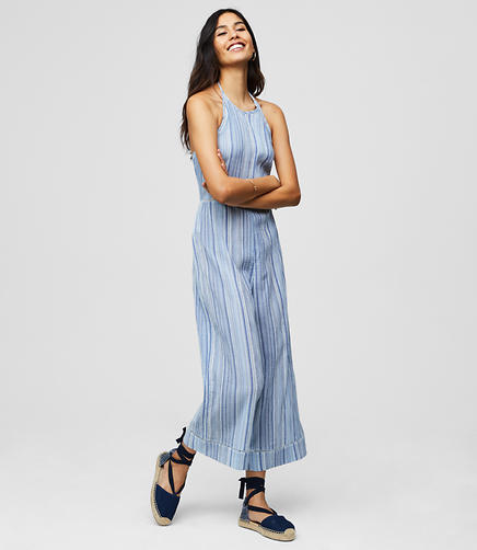 LOFT Beach Striped Halter Jumpsuit