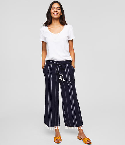 LOFT Beach Striped Tie Waist Pants