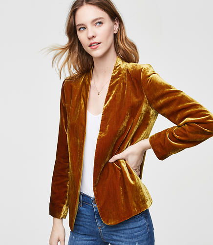Tall Velvet Open Blazer