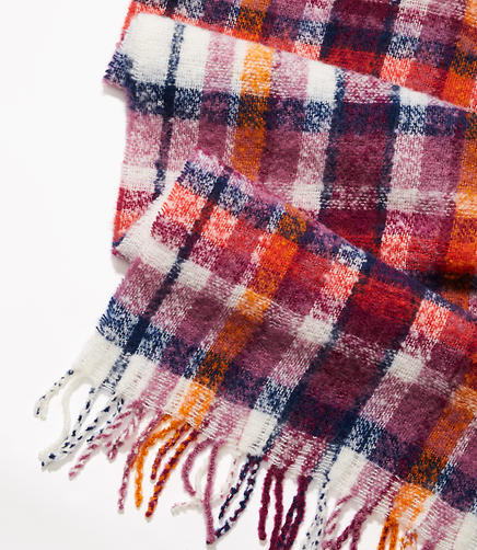 Multicolored Plaid Boucle Scarf
