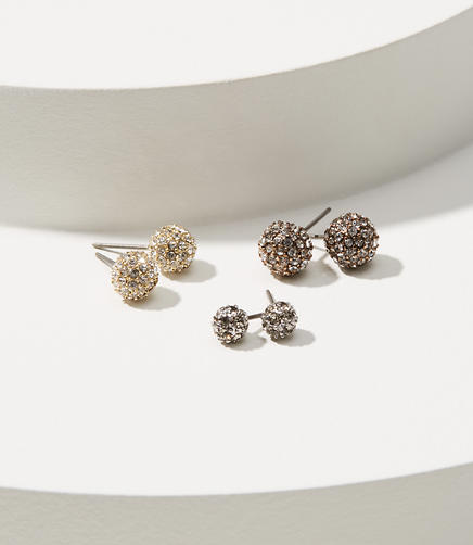 Pave Ball Stud Earring Set