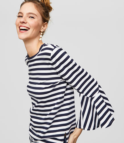 Petite Striped Bell Cuff Top