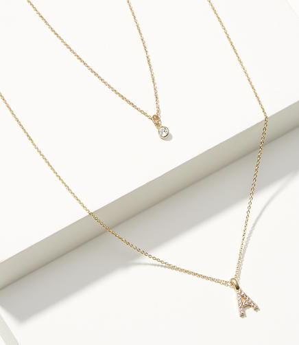 Layered Pave Initial Necklace