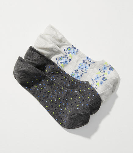 Dot & Floral Stripe No Show Sock Set