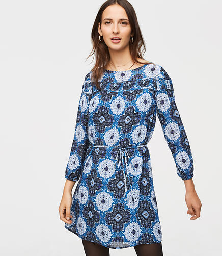 Medallion Shirred Yoke Dress