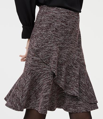 Tweed Ruffle Wrap Skirt