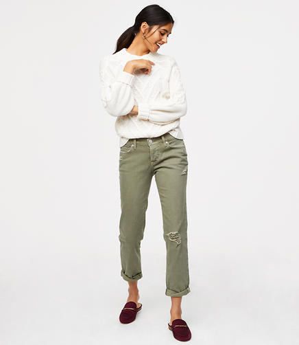 Destructed Boyfriend Jeans in Olive Tint