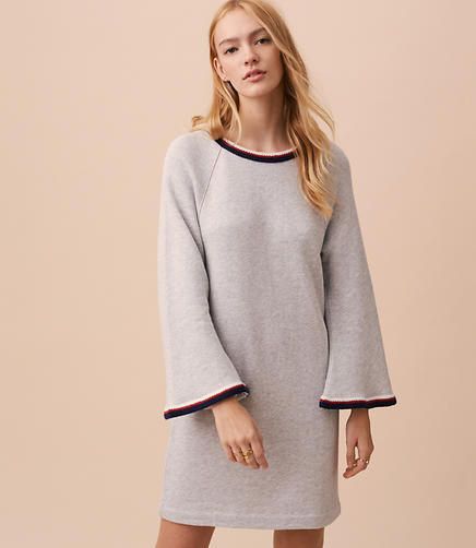 Lou & Grey Embroidered Bell Sleeve Sweatshirt Dress