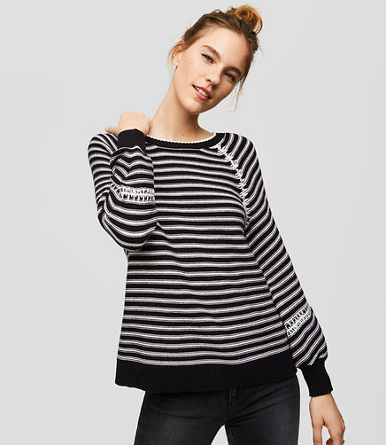 Petite Striped Whipstitched Sweater