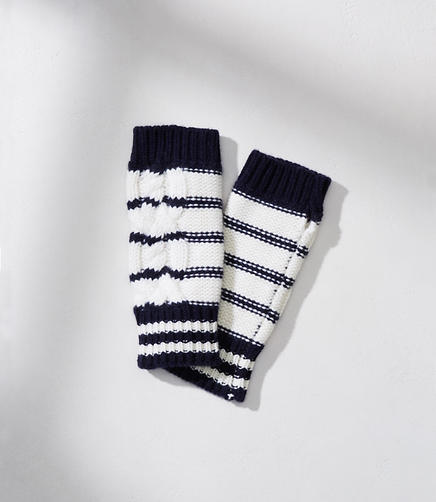 Lou & Grey Striped Cable Fingerless Gloves