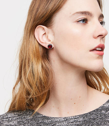 Pave Stone Stud Earrings