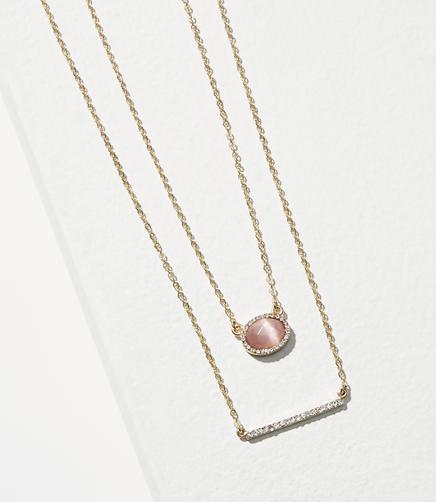 Stone Bar Layering Necklace Set