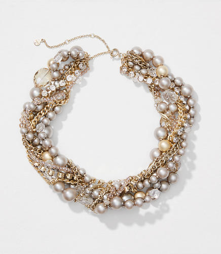 Pearlized Twist Statement Necklace