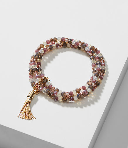 Tassel Stretch Beaded Bracelet Set