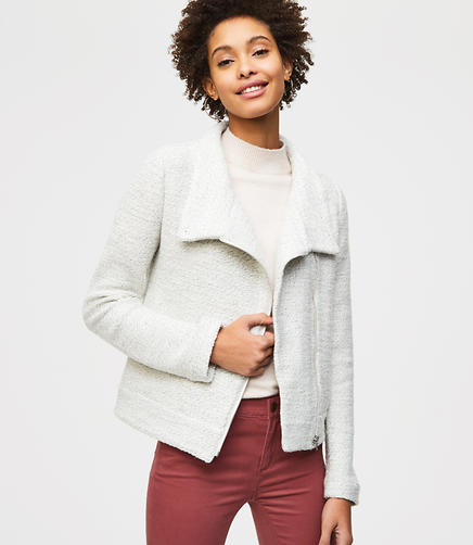 Knit Funnel Neck Moto Jacket