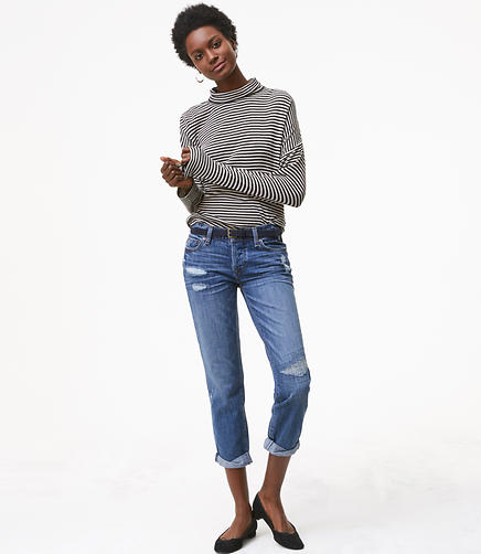 Boyfriend Jeans in Bright Mid Indigo Wash