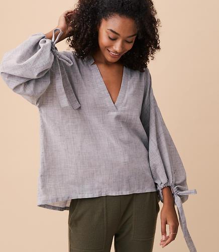 Lou & Grey Crosshatch Poet Shirt
