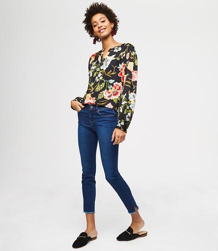 Modern Slit Frayed Skinny Jeans in Vivid Dark Indigo Wash