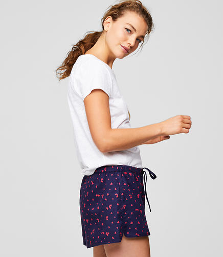 Heart Flannel Pajama Shorts