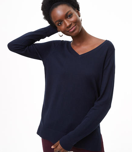 Petite Refined V-Neck Tunic Sweater