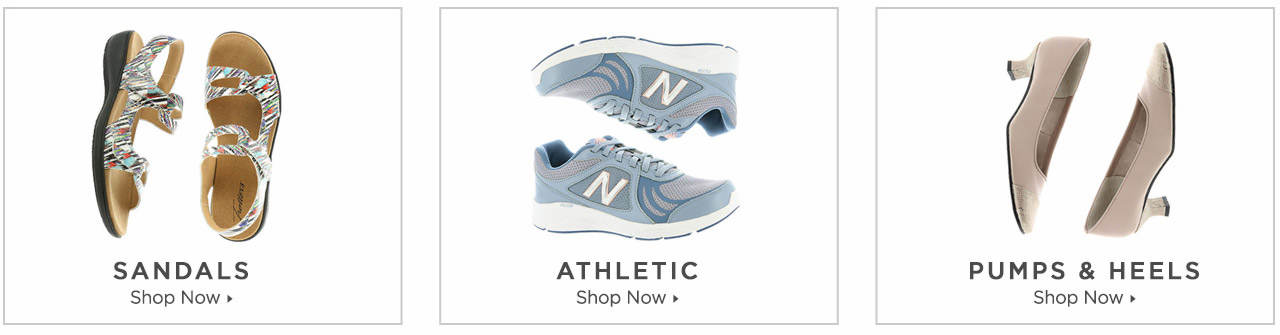 Shop Sandals, Athletics and Pumps