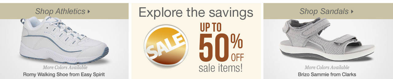 So many ways to shop! Athletics, sandals and explore savings on our sale tab!