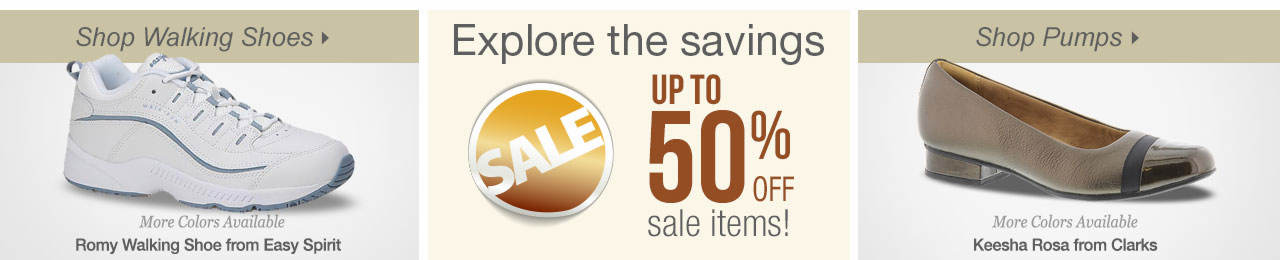 So many ways to shop! Walking shoes, casuals and explore savings on our sale tab!