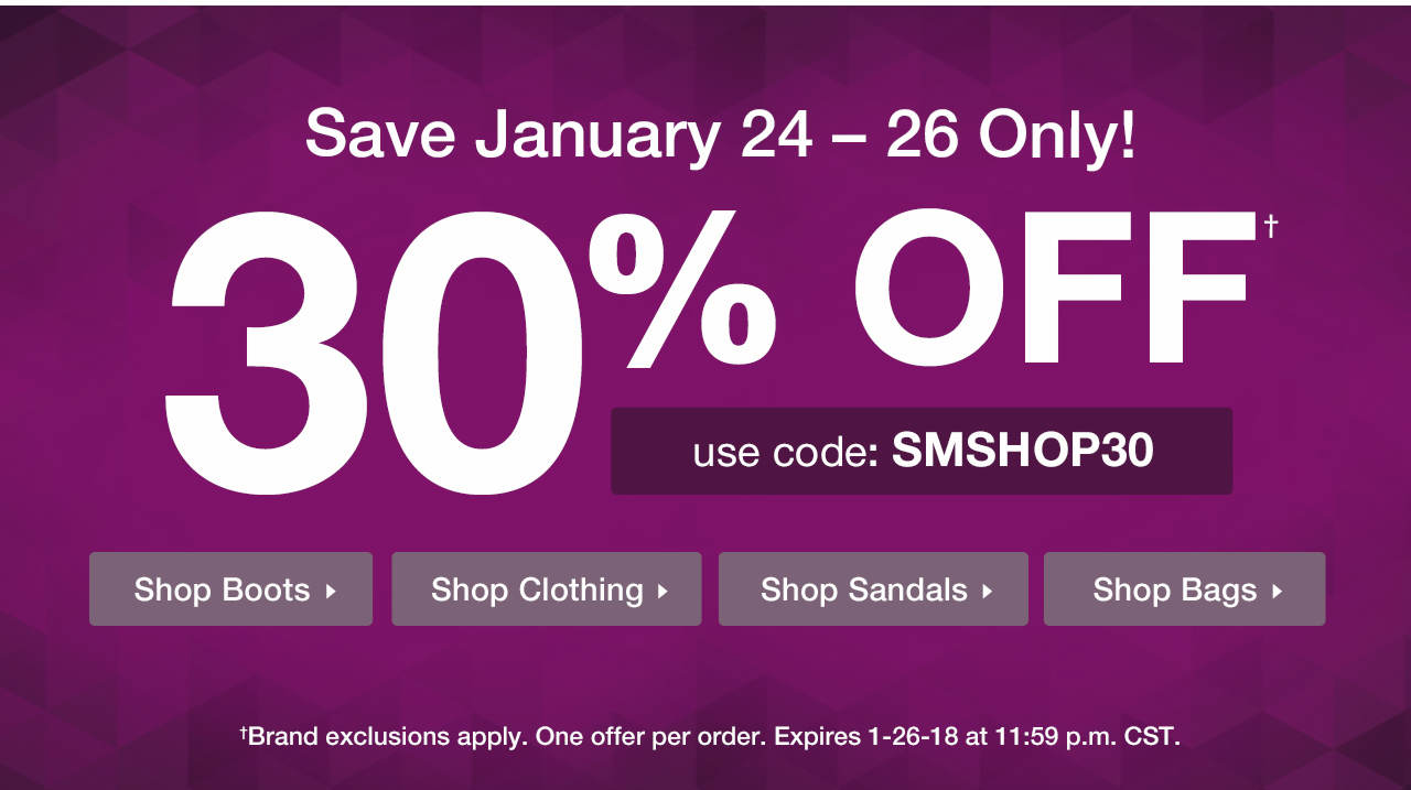 Take 30% Off With Code: SMSHOP30 Until 1-26-18 at 11:59 p.m. CST.