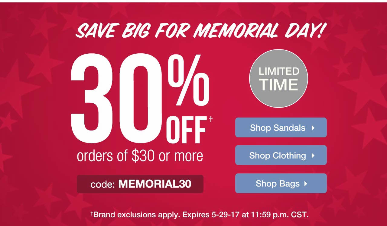 Take 30% Off $30 With Code: MEMORIAL30 Until 5-29-17 at 11:59 p.m. CST.