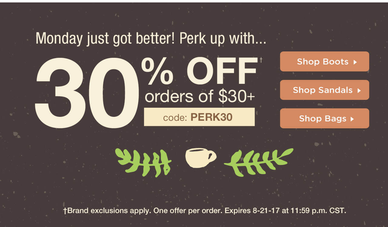 Take 30% Off $30 With Code: PERK30 Until 8-21-17 at 11:59 PM CST.