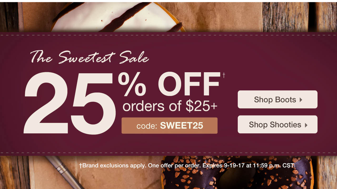 Take 25% Off $25 With Code: SWEET25 Until 9-19-17 at 11:59 PM CST.