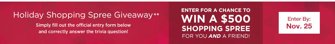 Holiday Shopping Spree Giveaway - Enter for a Chance to Win a $500 Shopping Spree For You AND A Friend!