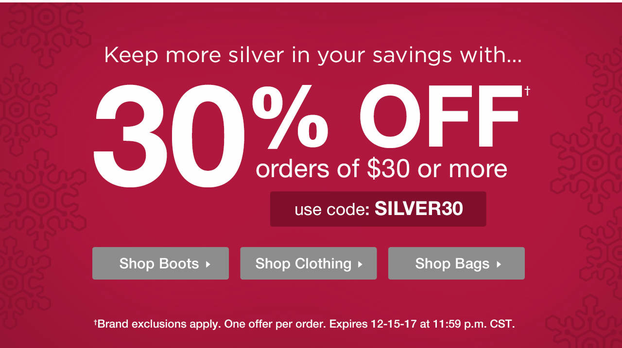 Take 30% Off $30 or More With Code: SILVER30 Until 12-15-17 at 11:59 p.m. CST.