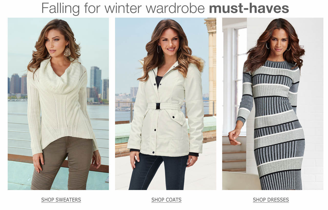 Falling for winter wardrobe must-haves, like sweaters, coats and dresses.