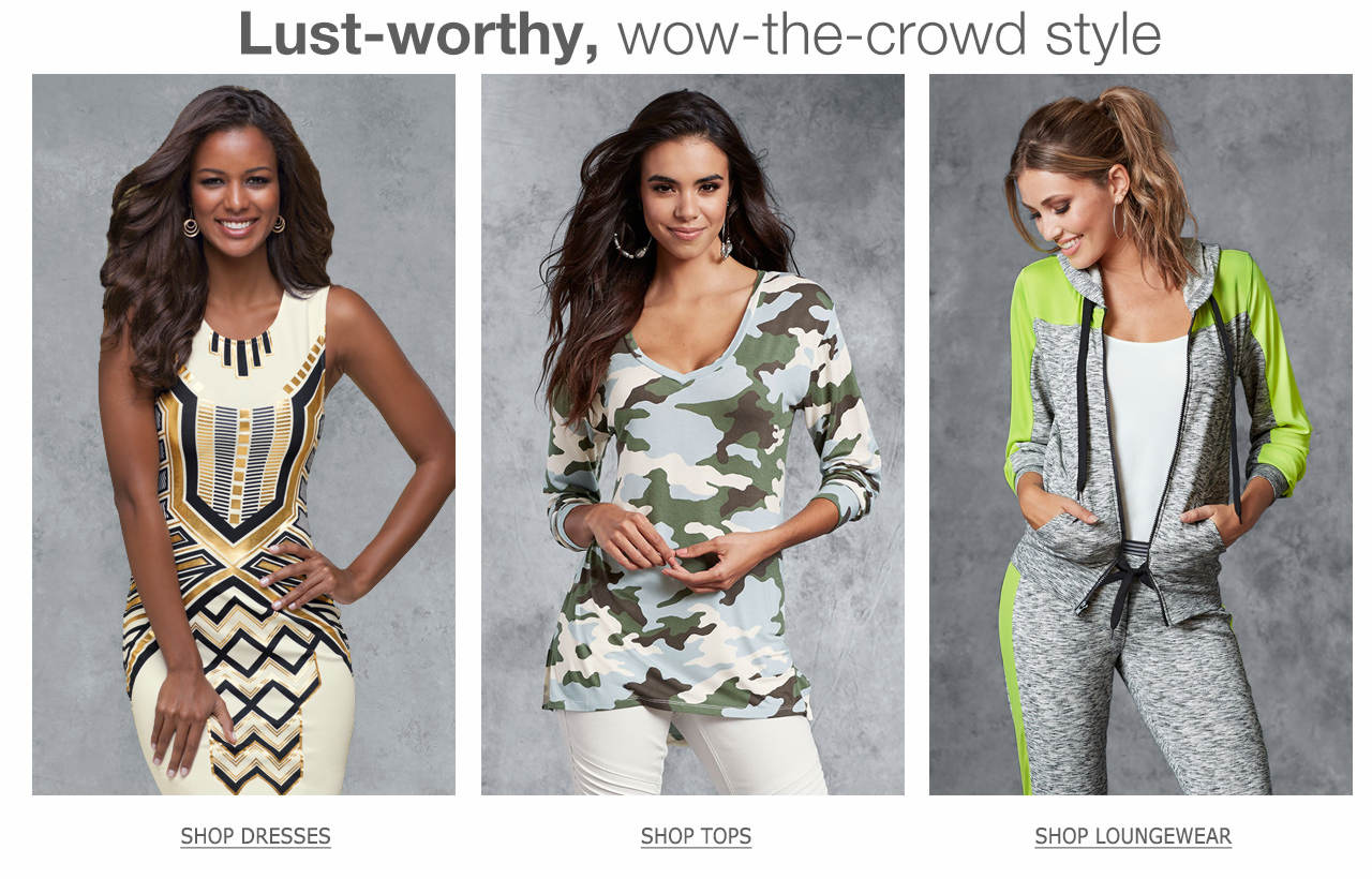 Shop lust-worthy, wow-the-crowd styles like dresses, tops and loungewear.