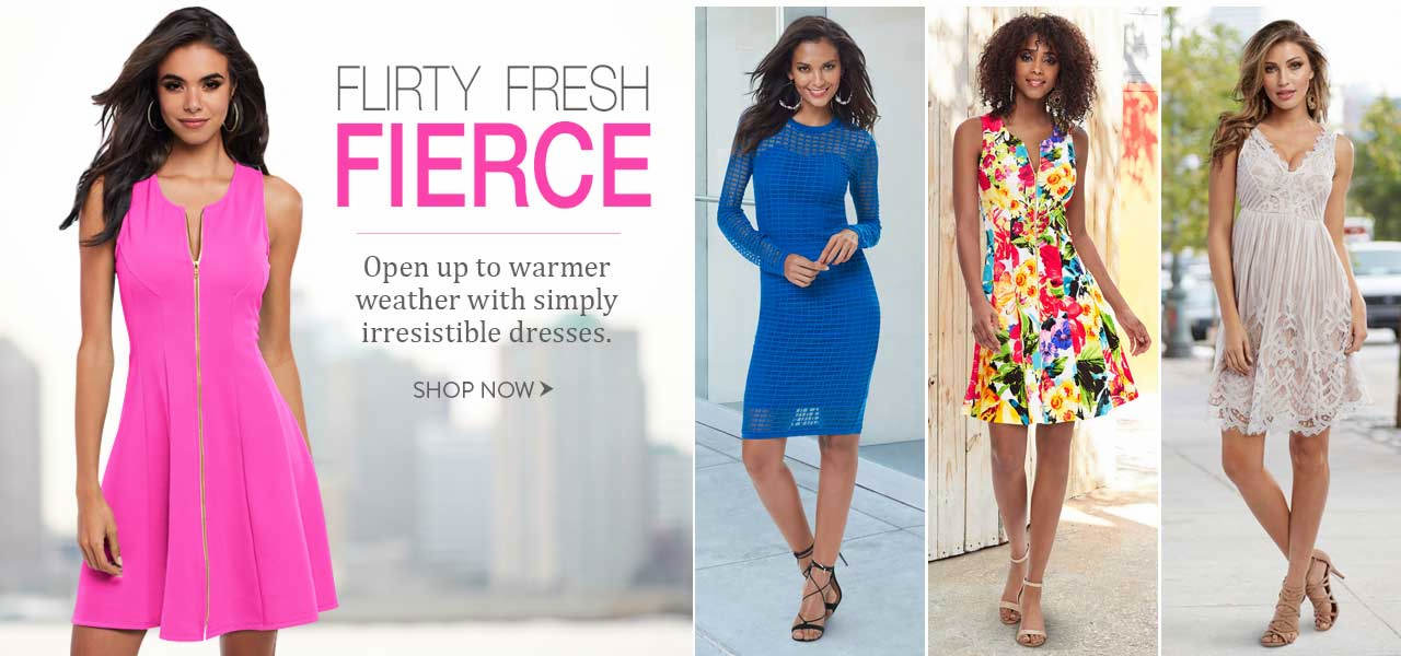 Flirty, fresh and fierce. Open up to warmer weather with simply irresistible dresses. Shop now.