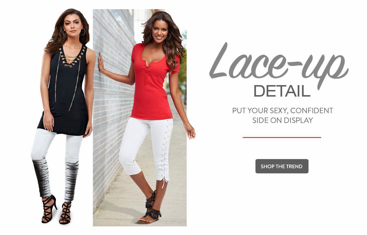 Lace-up detail. Put your sexy, confident side on display. Shop now.