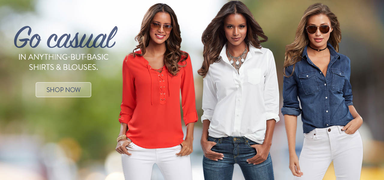 Go casual in anything-but-basic shirts and blouses. Shop now.