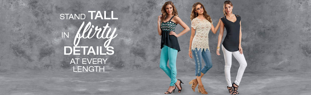 Stand tall in flirty details at every length.