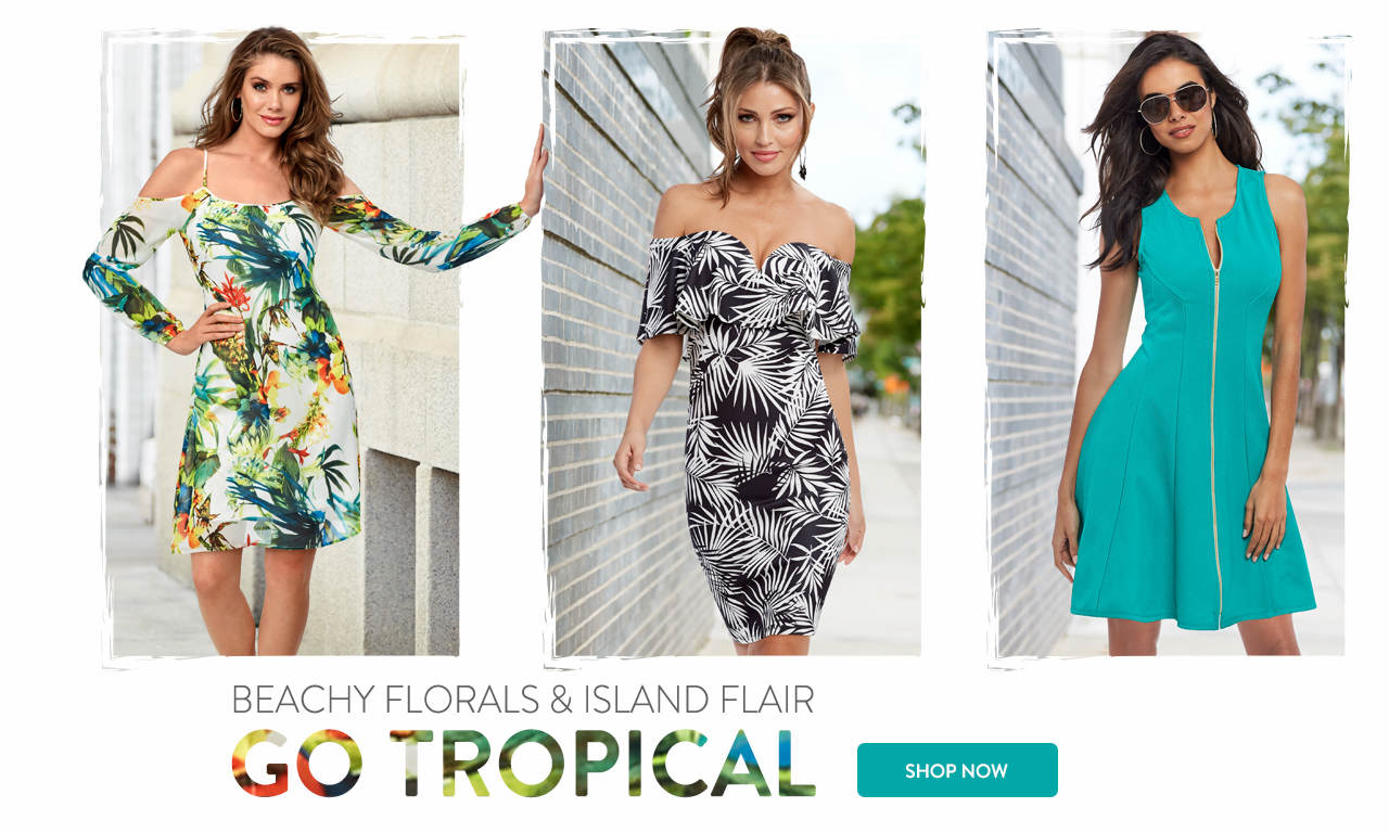 Beachy florals and island flair. Go Tropical. Shop now.