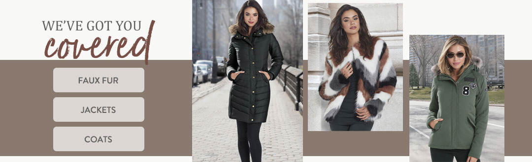 We've got you covered with jackets, coats and a great selection of faux fur outerwear from K. Jordan.