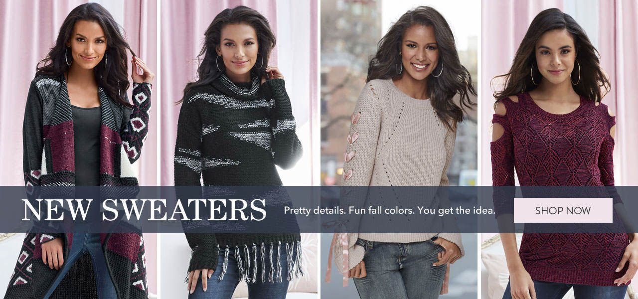 New Sweaters. Pretty details. Fun fall colors. You get the idea. Shop now.